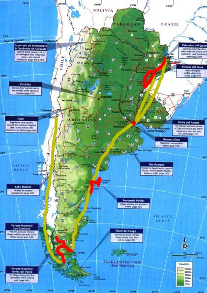Chile Argentina Birding Trip Observation Checklist - Argentina map lonely planet